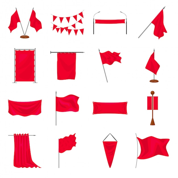 Bandeira dos desenhos animados conjunto de ícones Vetor Premium