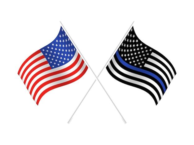 Bandeira dos estados unidos com linha azul para honrar a polícia e a lei. antecedentes, oficial. Vetor Premium