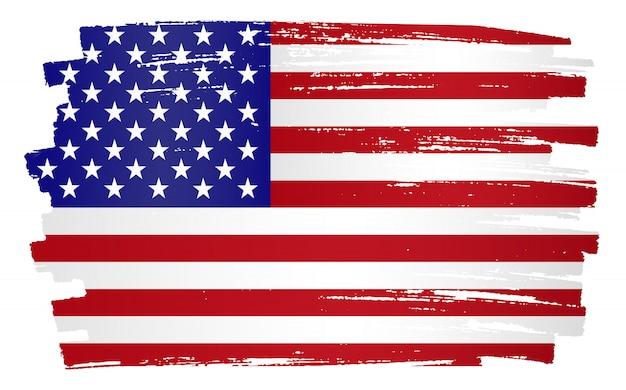 Bandeira dos estados unidos de grunge Vetor Premium