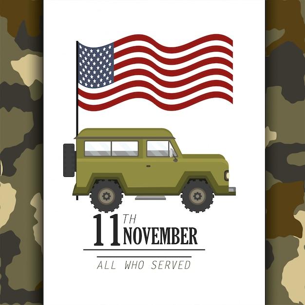Bandeira dos estados unidos e carro militar Vetor Premium