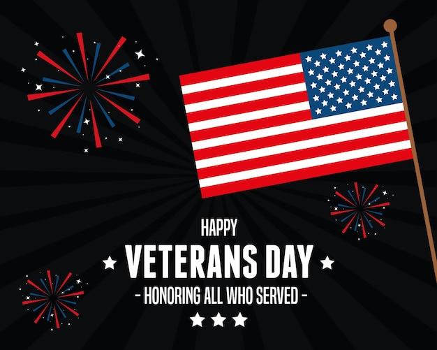 Bandeira dos estados unidos em comemoração aos veteranos do dia Vetor Premium