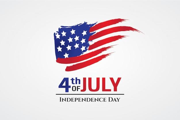 Bandeira dos eua com dia de independência de estilo de traçado de pincel da américa Vetor Premium