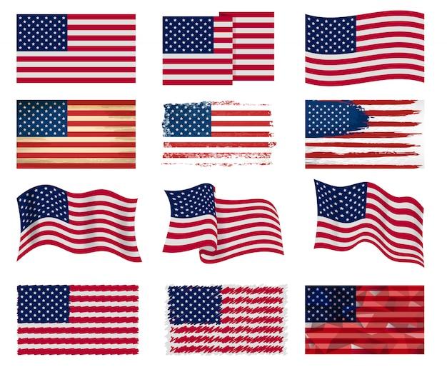 Bandeira dos eua vector símbolo nacional americano dos estados unidos com ilustração de listras de estrelas Vetor Premium