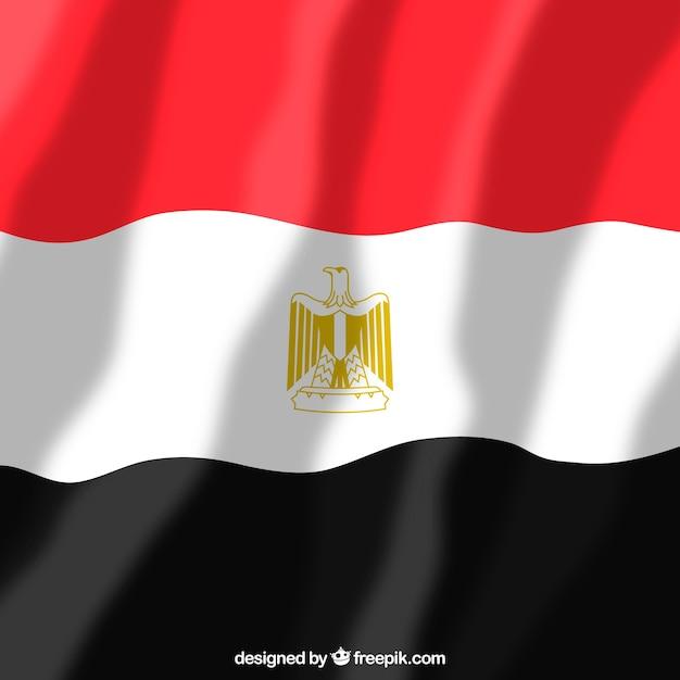 Bandeira egípcia elegante com design plano Vetor grátis