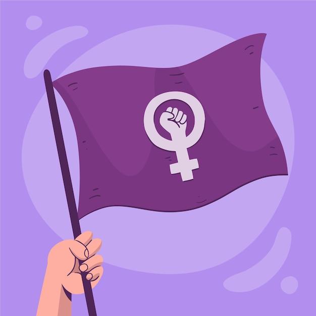 Bandeira feminista desenhada à mão Vetor grátis