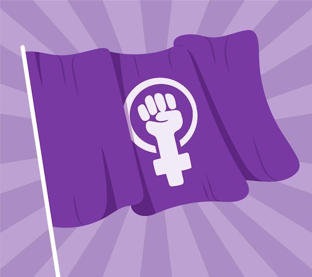 Bandeira feminista desenhada à mão Vetor Premium