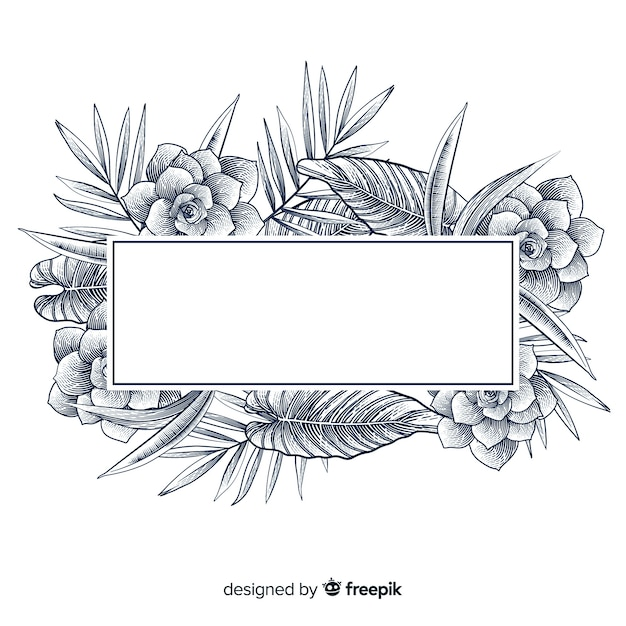 Bandeira floral desenhada de mão realista Vetor grátis