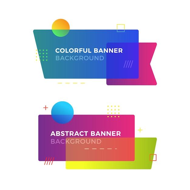 Bandeira geométrica abstrata em estilo de design de memphis Vetor Premium