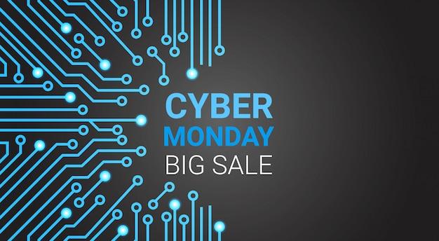 Bandeira grande da venda de segunda-feira do cyber sobre o circuito, desconto especial para o conceito da compra da tecnologia Vetor Premium