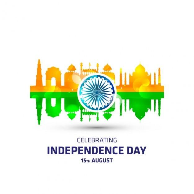 Bandeira indiana com o monumento Vetor grátis