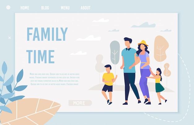 Bandeira informativa inscrição tempo para a família, plana. Vetor Premium