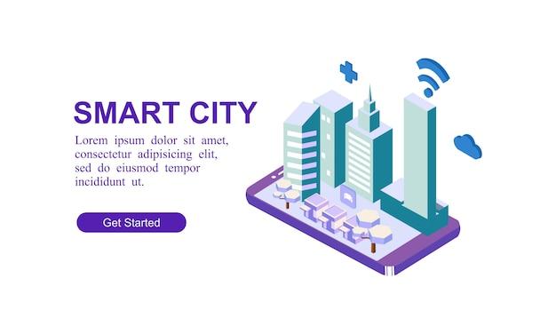Bandeira isométrica moderna da cidade inteligente Vetor Premium