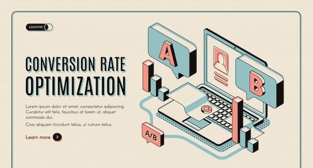 Bandeira isométrica web otimização de taxa de conversão. Vetor grátis