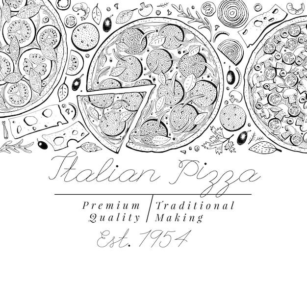 Bandeira italiana da opinião superior da pizza do vetor. ilustrações retrô desenhadas a mão. Vetor Premium