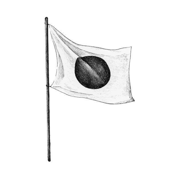 Bandeira japonesa desenhada de mão com vara Vetor Premium