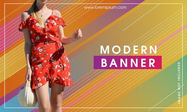 Bandeira moderna abstrata moderna Vetor Premium