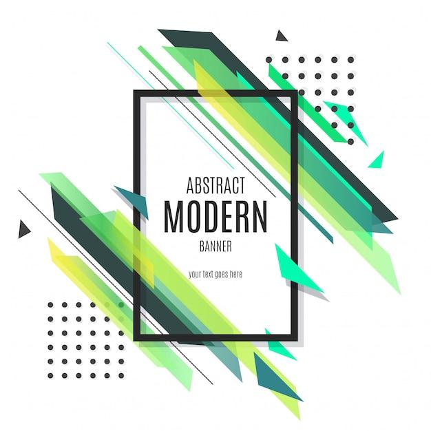 Bandeira moderna verde abstrata Vetor grátis