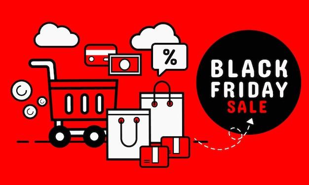 Bandeira negra de venda sexta-feira. compra online Vetor Premium
