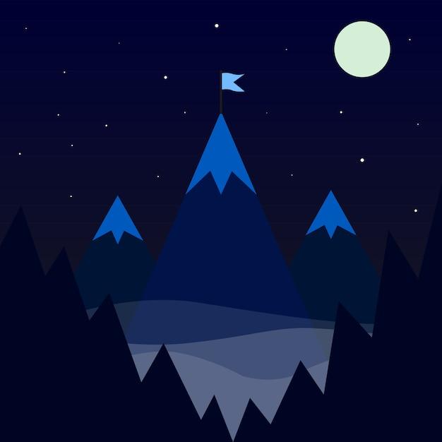 Bandeira no ícone da montanha. ilustração vetorial natureza Vetor Premium