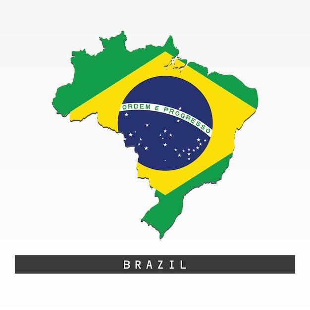 Bandeira no mapa do brasil Vetor Premium