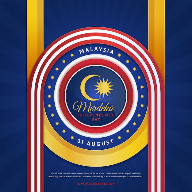 Bandeira oficial do dia da independência da malásia design Vetor Premium