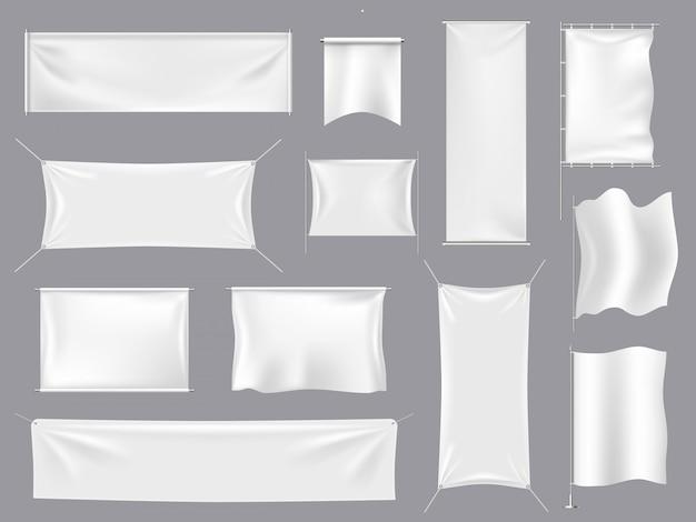 Bandeira realista de tecido s. bandeiras brancas de matéria têxtil e quadro indicador da lona, grupo vazio vazio da ilustração do modelo das bandeiras. bandeira branca vazia, realista em branco bandeira Vetor Premium