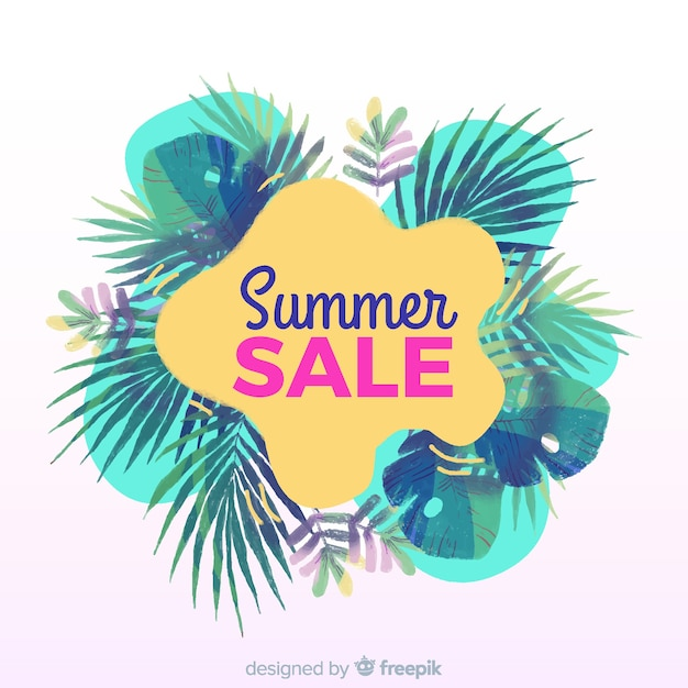 Bandeira tropical de venda de verão Vetor grátis
