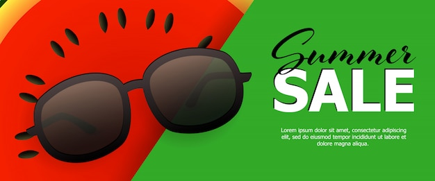 Bandeira verde de venda de verão Vetor grátis