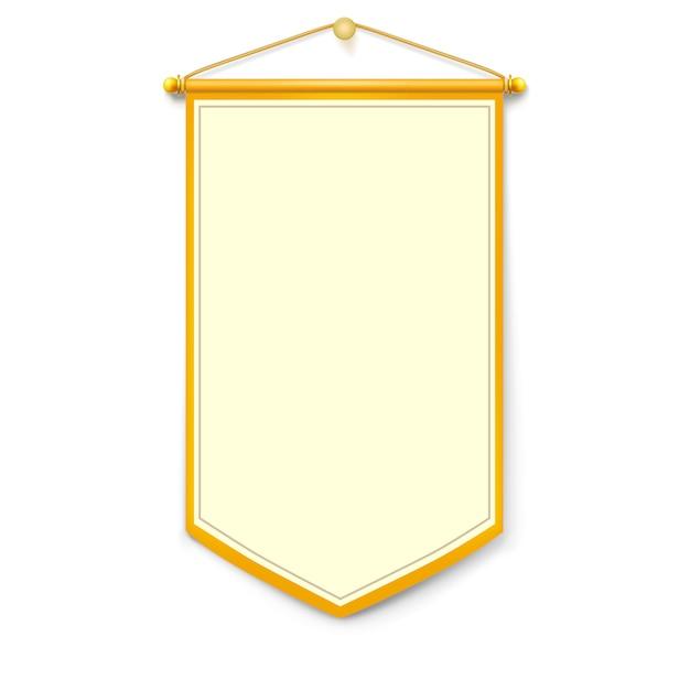 Bandeira vertical amarela com fio de ouro pendurado na parede Vetor Premium