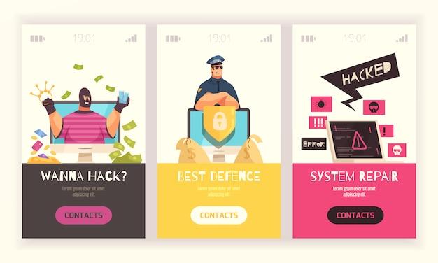 Bandeira vertical de três hackers definida com quero hackear melhor defesa e ilustração em vetor manchetes de reparo do sistema Vetor grátis