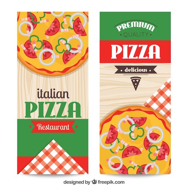 Bandeiras ajustadas de restaurante italiano Vetor grátis