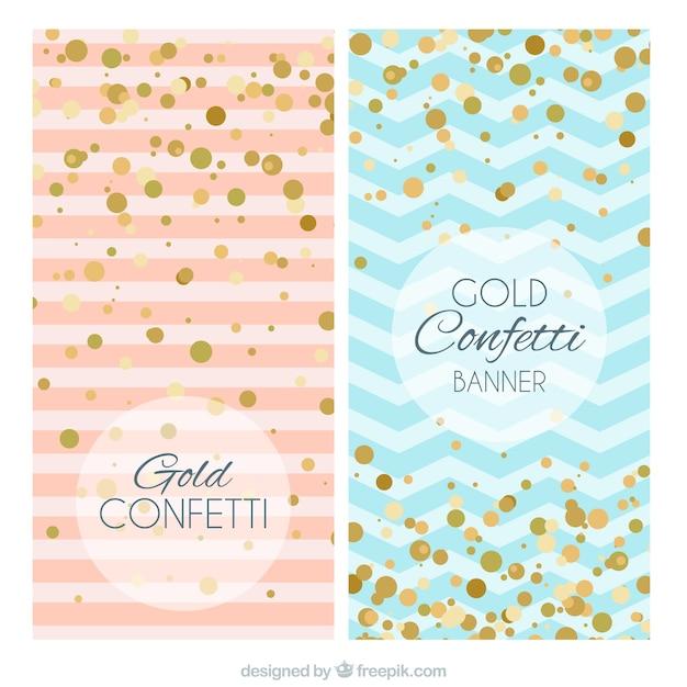 Bandeiras azul e rosa com confetti dourados Vetor grátis