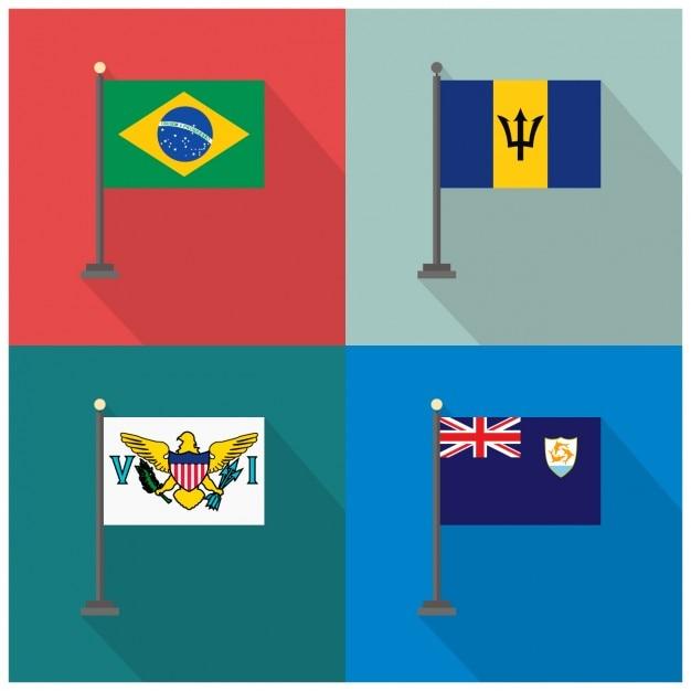 Bandeiras brasil barbados fidji Vetor grátis