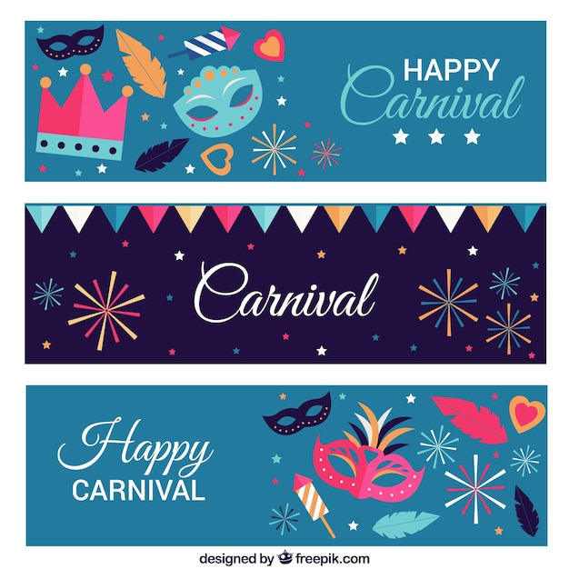 Bandeiras coloridas com máscaras de carnaval e fogos de artifício Vetor grátis
