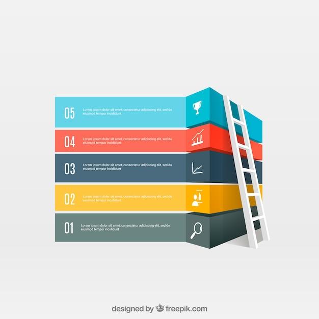 Bandeiras coloridas infográfico com uma escada Vetor grátis