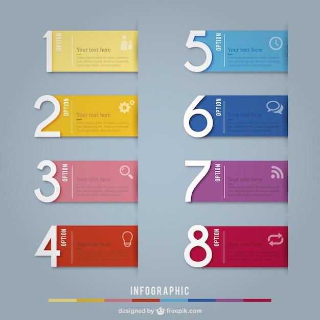 Bandeiras coloridas infográfico Vetor grátis