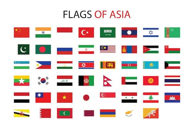 Bandeiras da ásia Vetor Premium