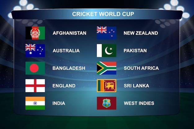 Bandeiras da copa do mundo de críquete ilustração Vetor Premium