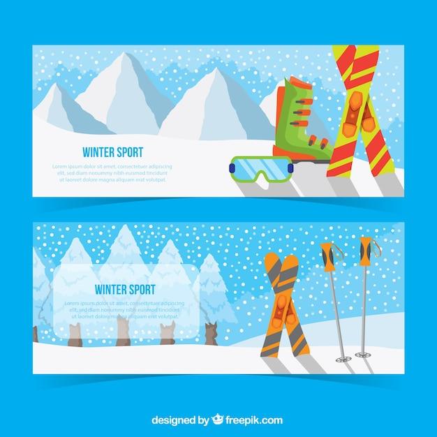 Bandeiras da paisagem com elementos de esqui Vetor grátis