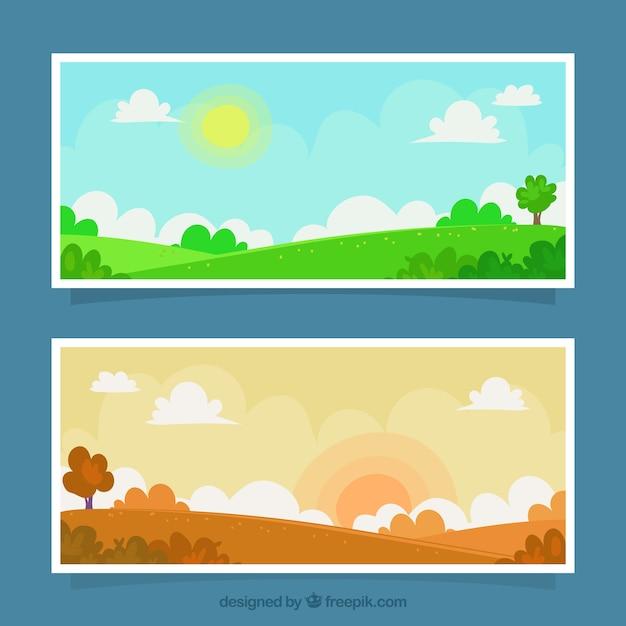 Bandeiras da paisagem em diferentes momentos do dia Vetor grátis
