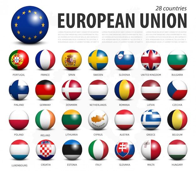 Bandeiras da união europeia em esferas tridimensionais Vetor Premium
