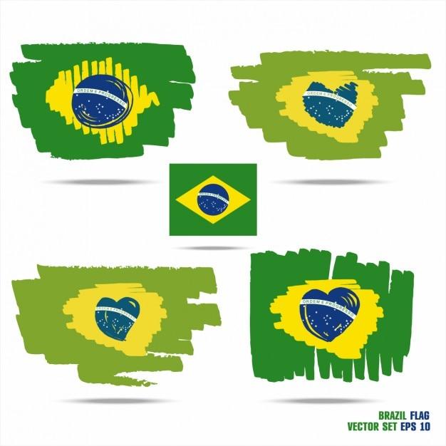 Bandeiras de brasil pintados à mão Vetor grátis