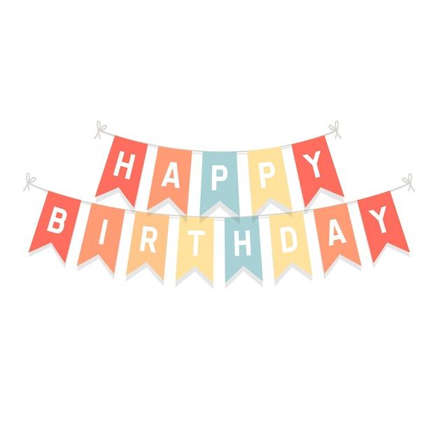 Bandeiras de estamenha bonito com letras feliz aniversário. Vetor Premium