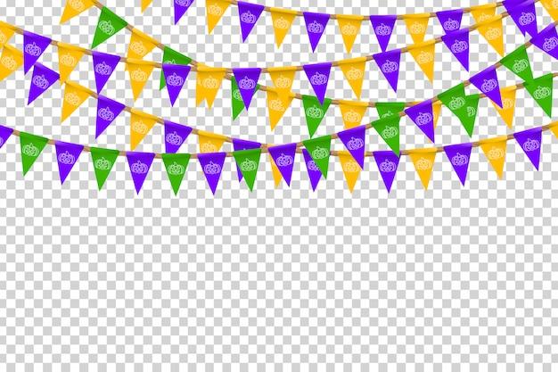 Bandeiras de festa realistas com cores de halloween e padrão de abóbora branca para decoração e cobertura no fundo transparente. conceito de feliz dia das bruxas. Vetor Premium