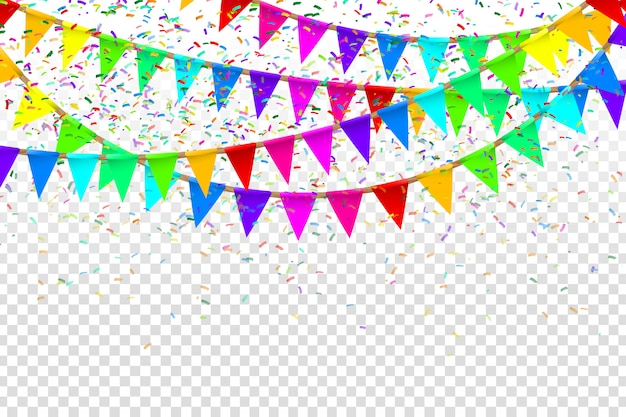 Bandeiras de festa realistas para decoração e cobertura no fundo transparente. conceito de aniversário, feriado e celebração. Vetor Premium