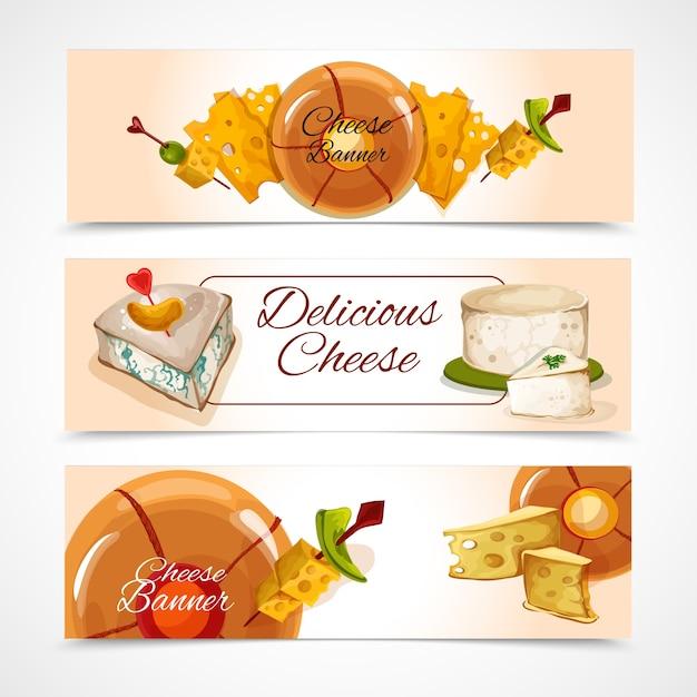 Bandeiras de queijo horizontal Vetor grátis