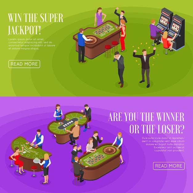 Bandeiras de roxas verdes isométricas horizontais de cassino 2 conjunto com perdedores de vencedores de jackpot de roleta Vetor grátis