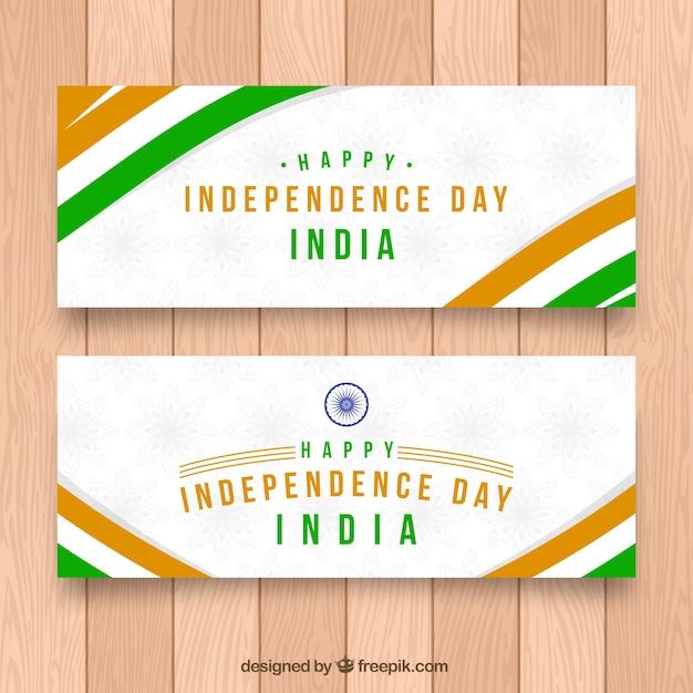 Bandeiras do dia da independência indiana com listras Vetor grátis