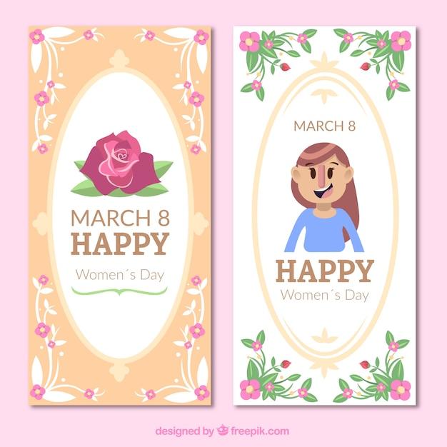 Bandeiras do dia das mulheres com decoração floral Vetor grátis