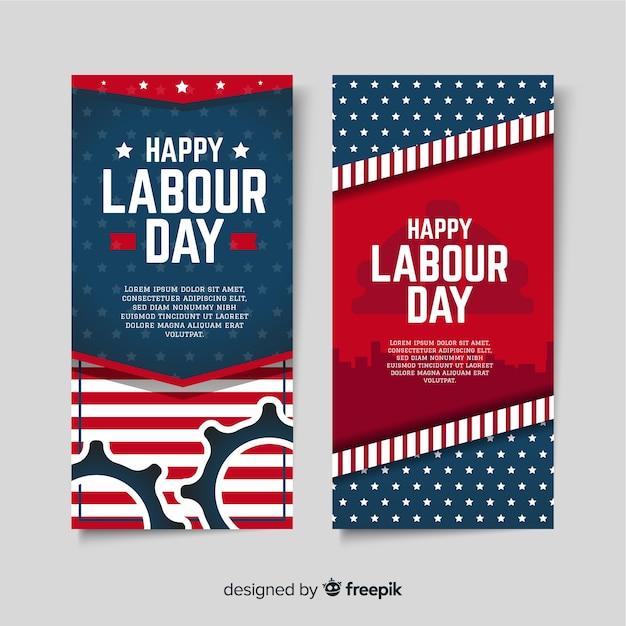 Bandeiras do dia de trabalho dos eua em estilo simples Vetor grátis